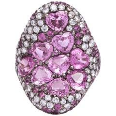 Pink Sapphire Diamond Cocktail Ring
