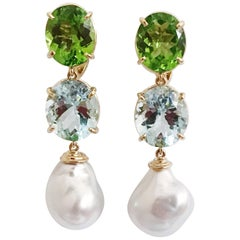 Andrew Clunn Three-Stone Drop Earring with Peridot Aquamarine  South Sea Pearl