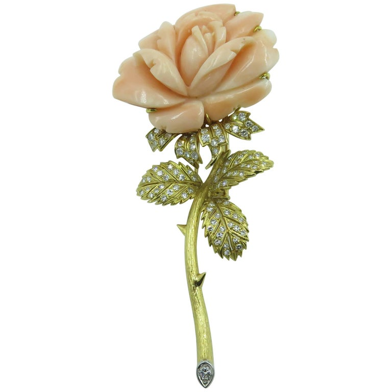 Carved Coral, Diamond and Gold Rose Brooch