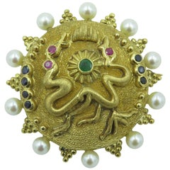 Lalaounis Gold, Pearl and Gem Set Brooch