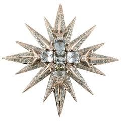 Stunning Tony Duquette Aquamarine, Blue Zircon and Diamond Gold Brooch Pin