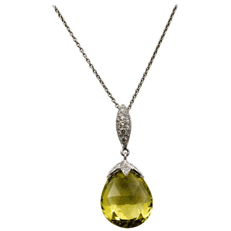 10.50 Carat Lemon Quartz Briolette Diamond Pendant Platinum Chain For Sale