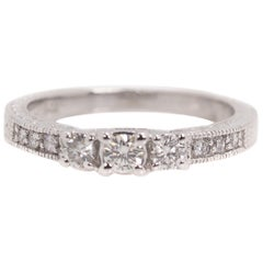 0.25 Carat Diamond and 14 Karat White Gold Vintage Inspired Engagement Ring