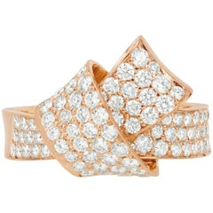 Modern 18 Karat Rose Gold and 1.31 Carat Pave Diamond Knot Ring