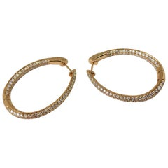 Diamond Oval Hoop Earrings in 14k Yellow Gold 11.94 Grams