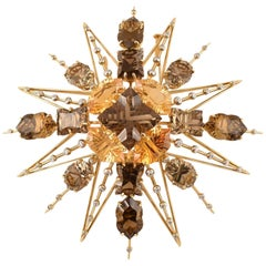 Exquisite Tony Duquette Citrine, Smoky Quartz and Diamond Gold Brooch Pin