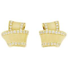 Modern 18 Karat Yellow Gold and .27 Carat Pave Diamond Knot Earrings