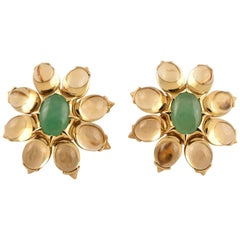 Beautiful Tony Duquette Citrine and Chrysophrase Gold Earrings