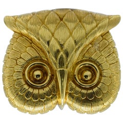 18 Karat Gold Owl Head Pendant and Brooch