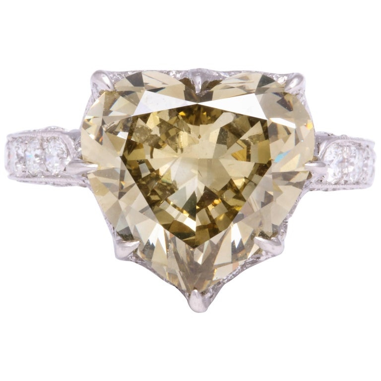 GIA Certified 5.77 Carat Heart-Shaped Diamond and Platinum Ring