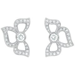 Modern 18 Karat White Gold and .66 Carat Pave Diamond, Florette Earrings