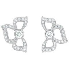 Carelle 18 Karat WG and .66 Carat Pave Diamond Florette Stud Earrings