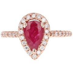 2.24 Carat Ruby Diamond Rose Gold Bridal Ring
