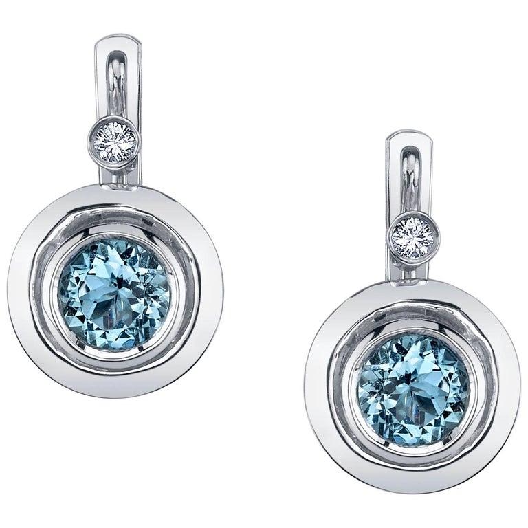 Round Aquamarines and Round White Diamonds 18 Karat White Gold Earrings