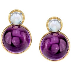 Round Amethyst and Round Moonstone 18 Karat Yellow Gold French Clip Earrings