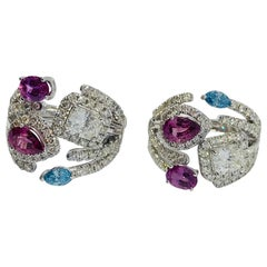 Pink, Blue, and White Diamond Earrings in 18 Karat White Gold