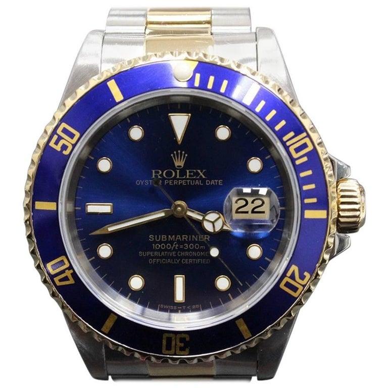 Rolex Submariner Blue 16613 18 Karat Yellow Gold and Stainless Steel