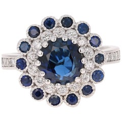 3.53 Carat Sapphire Diamond White Gold Cocktail Ring