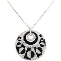 Bvlgari Intrasio 18 Karat Gold with Diamond and Onyx Large Pendant Necklace