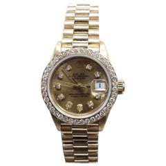 Rolex Ladies President 6917 Diamond Dial Diamond Bezel 18 Karat Yellow Gold