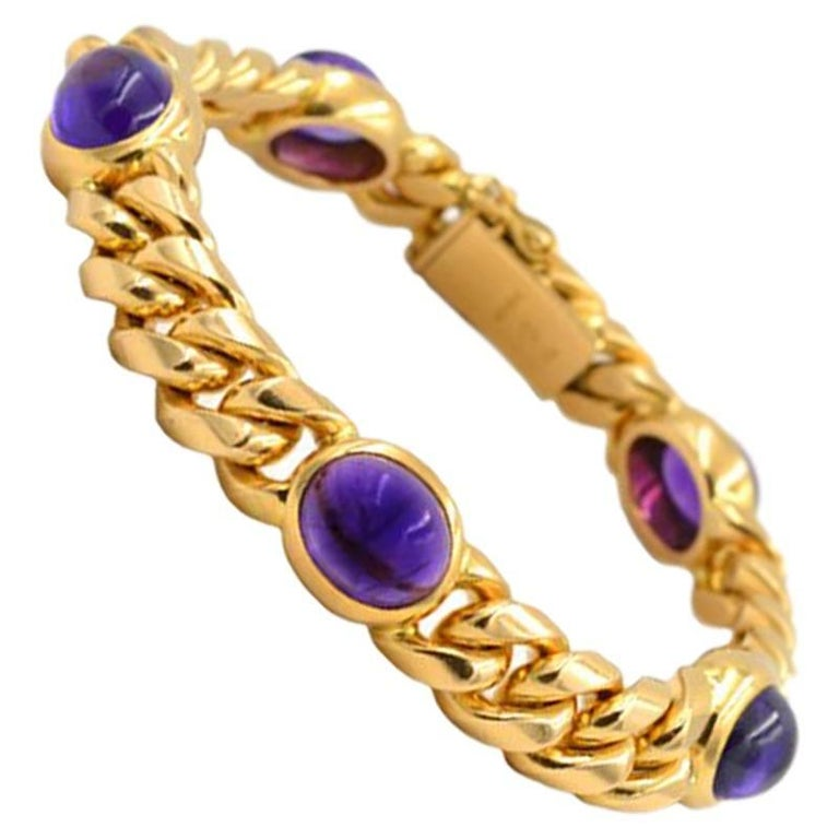 Vintage 1980s Amethyst and 18 Karat Yellow Gold Link Bracelet