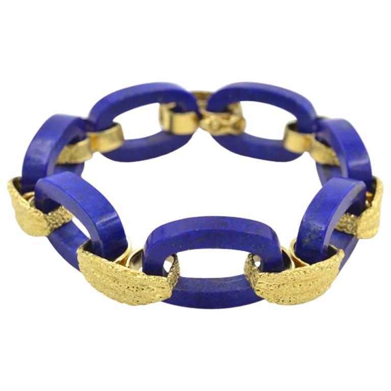 Vintage 1960s Lapis Lazuli and 18 Karat Gold Link Bracelet