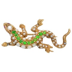 Antique Demantoid and Pearl 14 Karat Gold Lizard Brooch