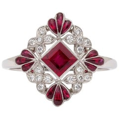 Lovely Floral Ruby and Diamond Platinum Ring