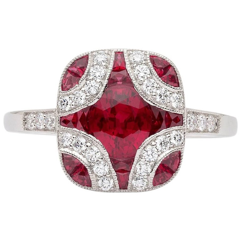 Art Deco Style Ruby and Diamond Platinum Ring