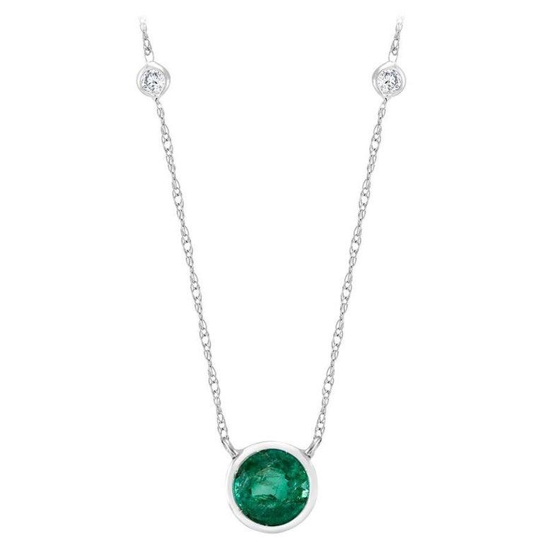 White Gold Three Bezel-Set Diamond Emerald Pendant Necklace
