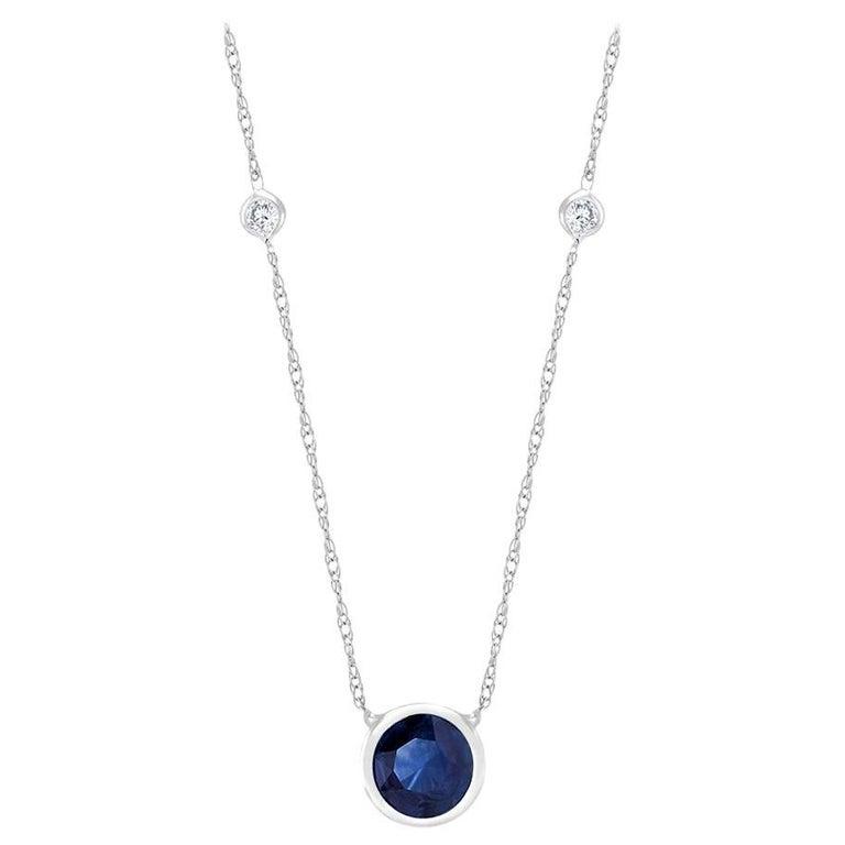 White Gold Three Bezel-Set Diamond Sapphire Pendant Necklace