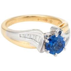Sapphire Diamond Ring Vintage 18 Karat Gold Platinum