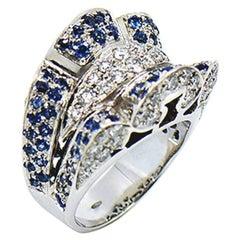 Diamond and Sapphire Large Statement 18 Karat Ring