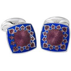 Deakin & Francis Sterling Silver Fancy Enamel Cufflinks in Red and Blue