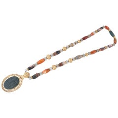 Gold Agate Rock Crystal and Bloodstone Necklace by A. Codognato