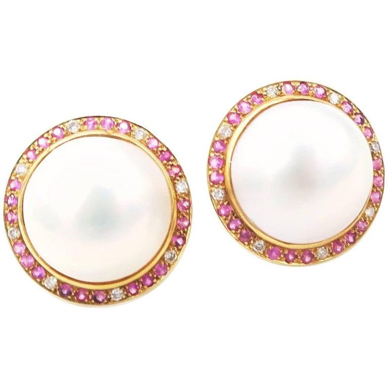 Total Mabe Pearl Pink Sapphire Diamond Gold Clip on Pierced Earrings