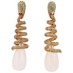 48.43 Carat Rose Quartz Drop Green Yellow Sapphire Meleé Gold Spiral Earrings
