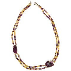 Necklace Faced Tourmaline Gold Fish Carved Tourmaline