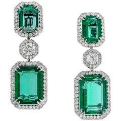GRS Certified Natural Emerald Earrings, 22.14 Carat
