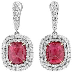 GRS Certified Cabochon Ruby Earrings with Diamonds, 14.84 Carat