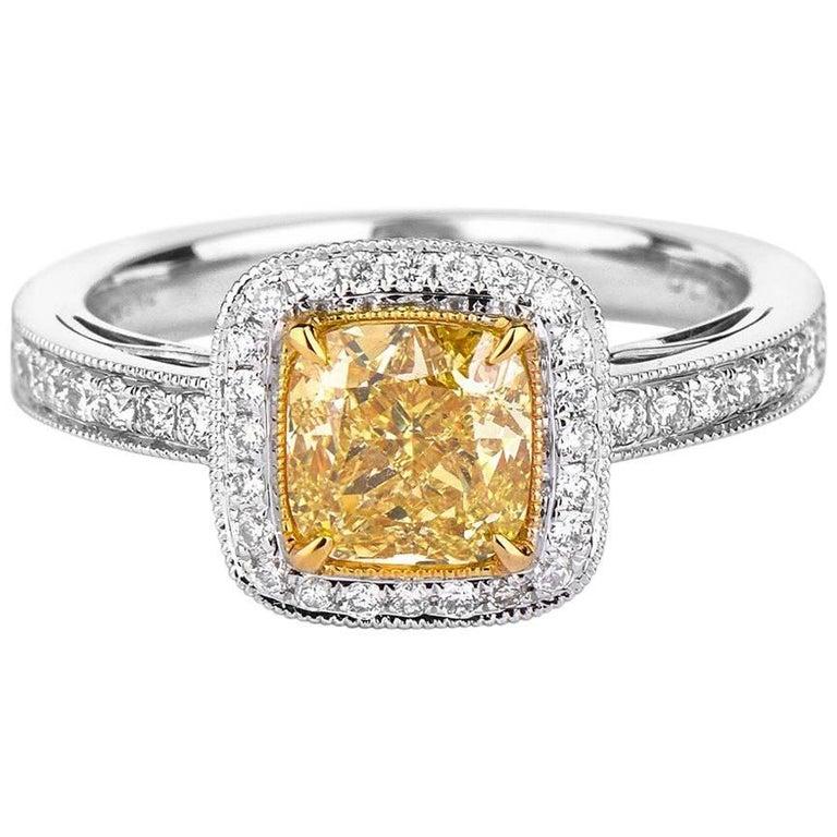 GIA Certified Yellow Diamond Ring, 1.78 Carat