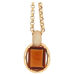 4.48 Carat Diamond Quartz 18 kt. Yellow Gold Drop Pendant Long Necklace