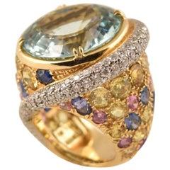 Beautiful Tony Duquette Aquamarine, Multi-Color Sapphire Diamond Gold Ring