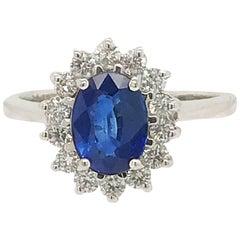 1.25 Carat Sapphire and Diamond Ring in 18 Karat White Gold