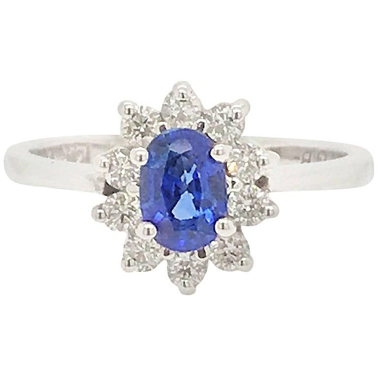 Sapphire and Diamond Ring in 14 Karat White Gold