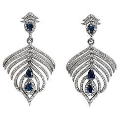 Sapphire and Diamond Feather Earrings