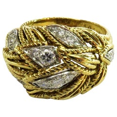 Timeless Van Cleef & Arpels Diamonds in Woven Leaf Design Gold Domed Ring
