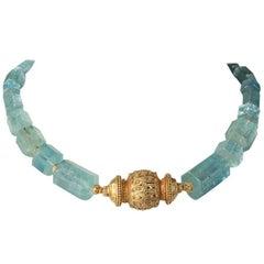 Beveled Aquamarine and 22 Karat Gold Necklace