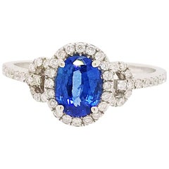 Sapphire and Diamond Ring Set in 18 Karat White Gold