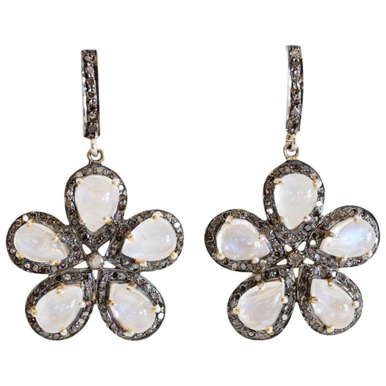 Moonstone and Diamond Flower Earrings